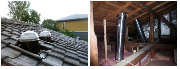和瓦屋根に取り付けた採光ドームと小屋裏のチューブ